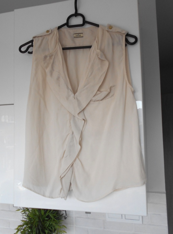 Malene Birger jedwabna bluzka falbanka silk jedwab kremowa