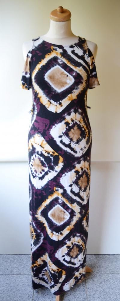 Sukienka Wzory Długa Odkryte Ramiona S 36 TU Maxi