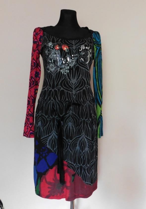 Desigual sukienka czarna midi 42