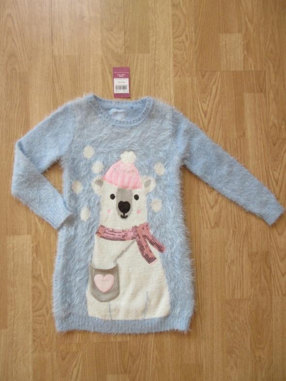 Ciepły włochaty długi sweterek roz 116 NOWY