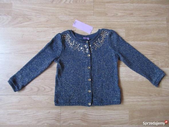 Elegancki sweterek rozpinany złota nitka F&F roz 98