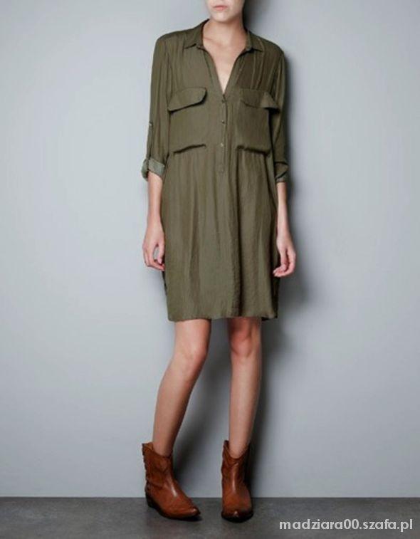 Sukienka oliwkowa Zara...