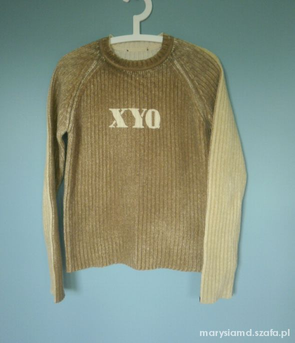Swetry Quiosque sweter XYQ z napisem beżowy nude jak nowy