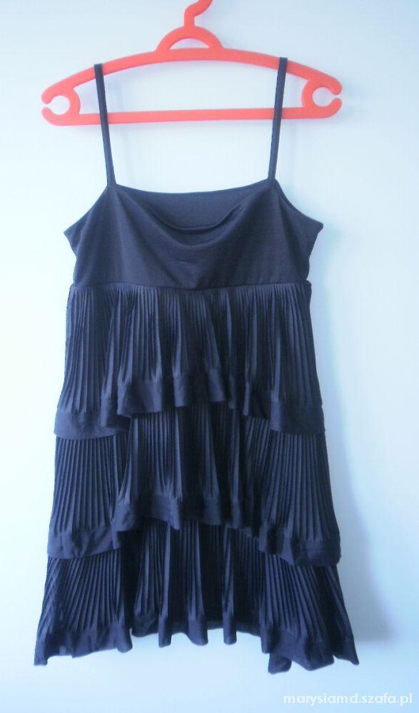 Suknie i sukienki HM sukienka granatowa falbanki
