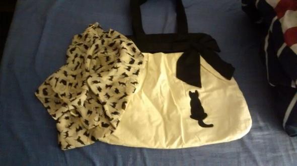 komplet torebka chusta koty...