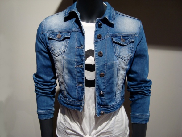 Krótka Jeansowa Kurtka Blue S