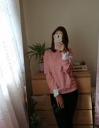 Różowa koralowa bluza z koszulowymi mankietami Sinsay rozmiar x...