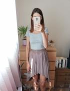 Plisowana asymetryczna spódnica kolor ciemny beż nude ecru rozm...