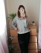 Szara bluza z naszyjnikiem rozmiar m geometryczne wzory oversiz...