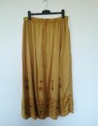 Piękna spódnica maxi miodowa haftowane kwiaty XL...