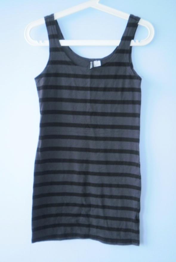 HM sukienka tuba bodycon paski szara minimal