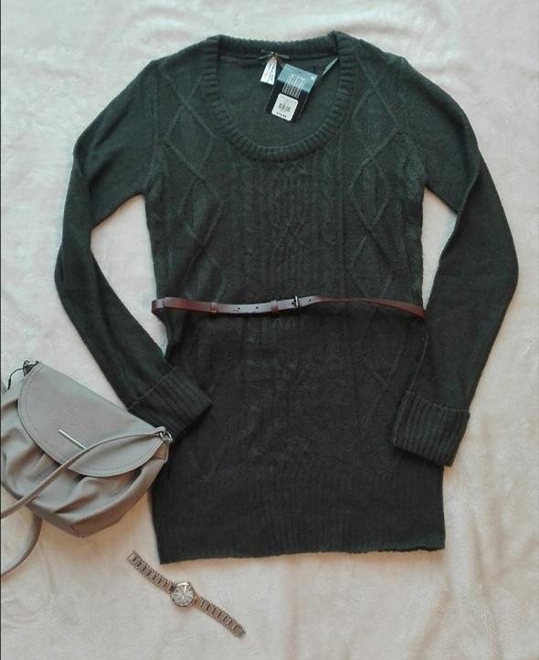 Sweter długi z paskiem zielony zieleń 38 M...