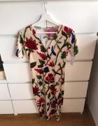 Piękna sukienka kwiaty floral Zara midi obcisła 36 s nowa tumbl...