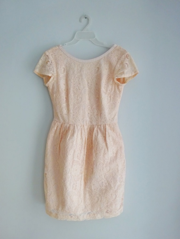 H&M koronkowa pudrowa sukienka wesele 36 S