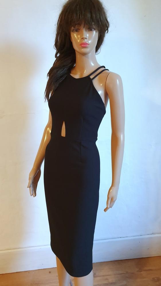 Czarna dopasowana sukienka midi r M...
