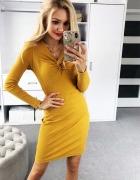 Sukienka mini dopasowana dekolt jak związany rozm S...