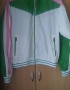 kurtka wiatrówka sportowa zieleń róż biała...