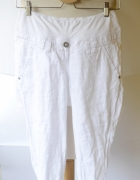 Spodenki Rybaczki H&M Mama S 36 Białe Len Lniane...