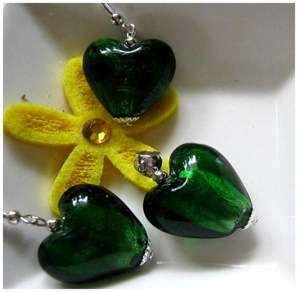 Zielone serca szkło weneckie delikatny zestaw