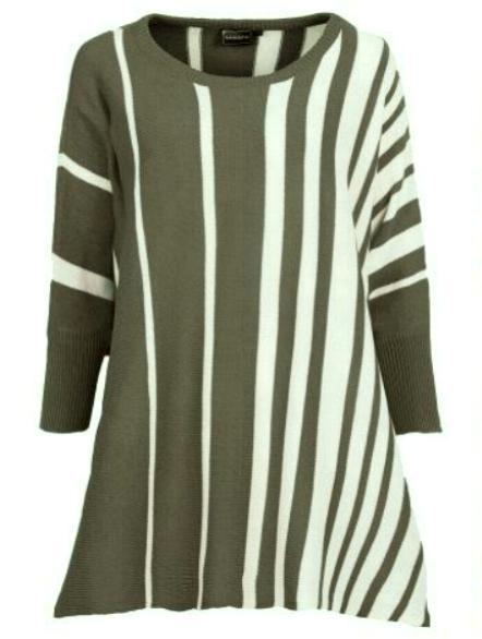 Sweter w pionowe pasy oversize glamour...