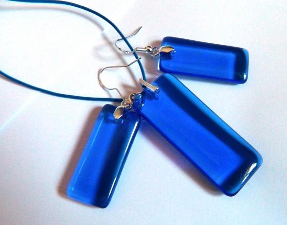 Niebieski kryształ prostokąty w srebrze zestaw