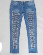 BOCHOO spodnie damskie z dziurami i koronka rozm L do XL pas 86...