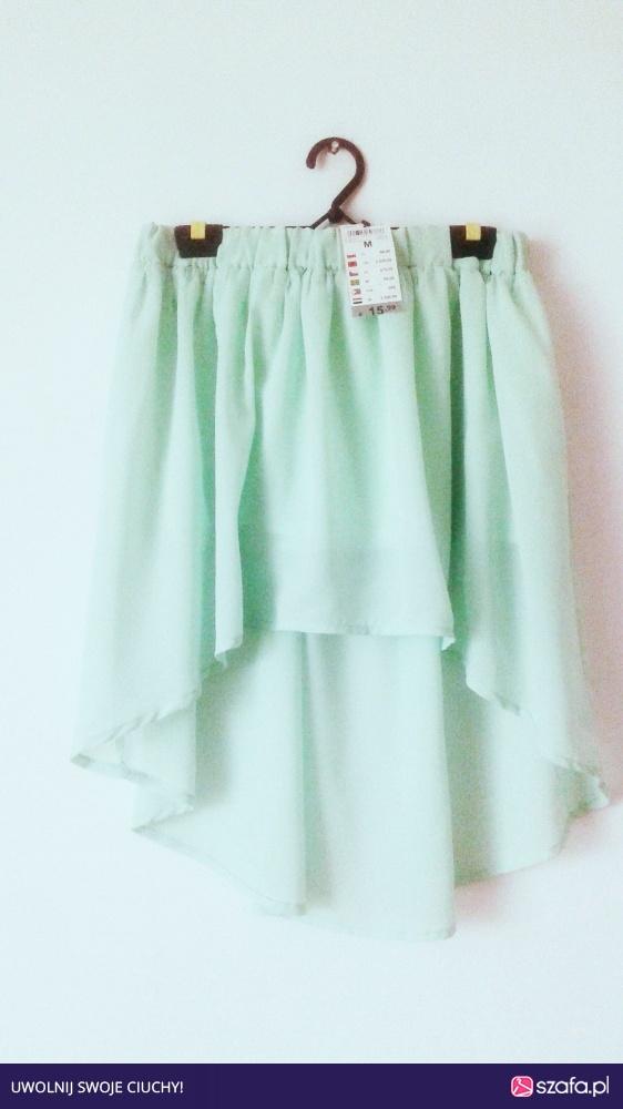 NOWA miętowa spódnica Terranova asymetryczna zielona