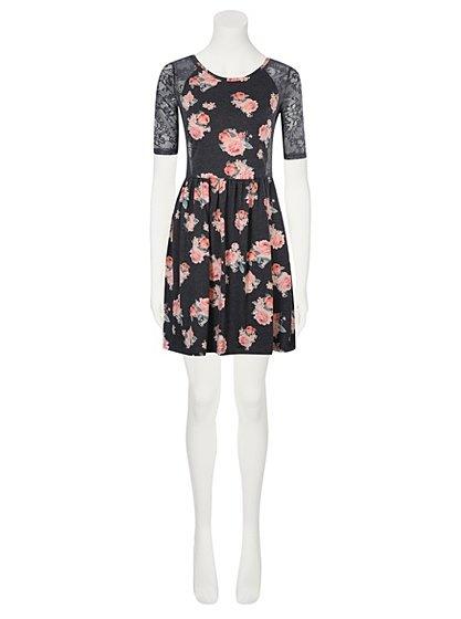 Suknie i sukienki Sukienka w kwiaty z koronką