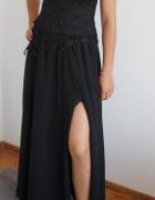 czarna suknia wieczorowa sukienka gorsetowa balstudniówka karna...