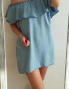 Zara Woman jeansowa sukienka off shoulder S...