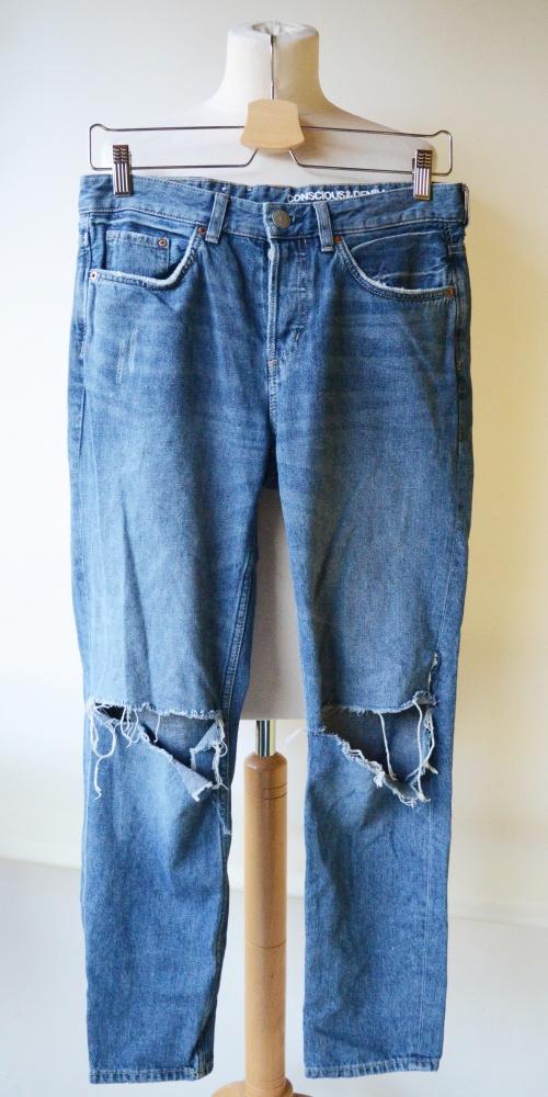 Spodnie Boyfriend 25 32 Jeans Dziury S 36 Dżinsowe H&M...