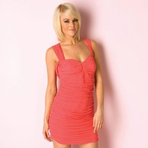 Lipsy koralowa sukienka szyfon S M...