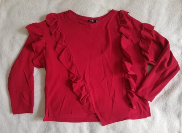 Czerwona bluza z falbankami BERSHKA M