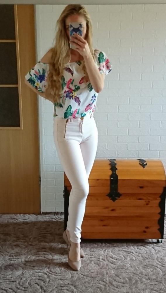 Brzoskwiniowe pudrowe pastelowe spodnie skinny rurki zamki...