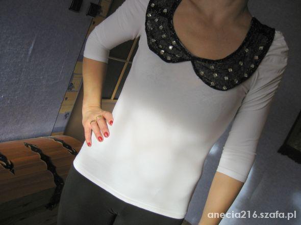 Biała bluzka z bufkami i kołnierzykiem H&M