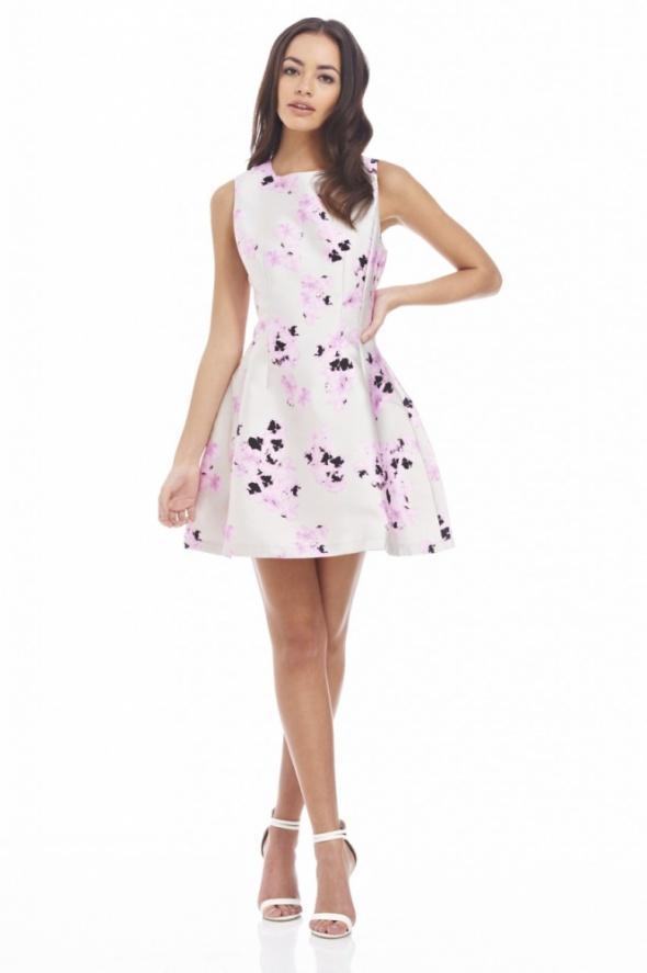 Piękna rozkloszowana elegancka sukienka w kwiaty Ax Paris szara...