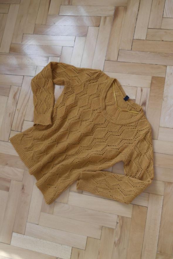 pimkie ażurowy sweter camel rudy wełniany moher...