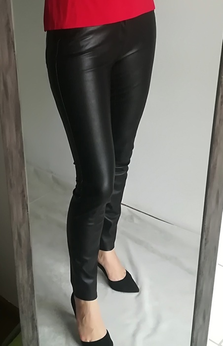 Zara a la skórzane spodnie czarne S...