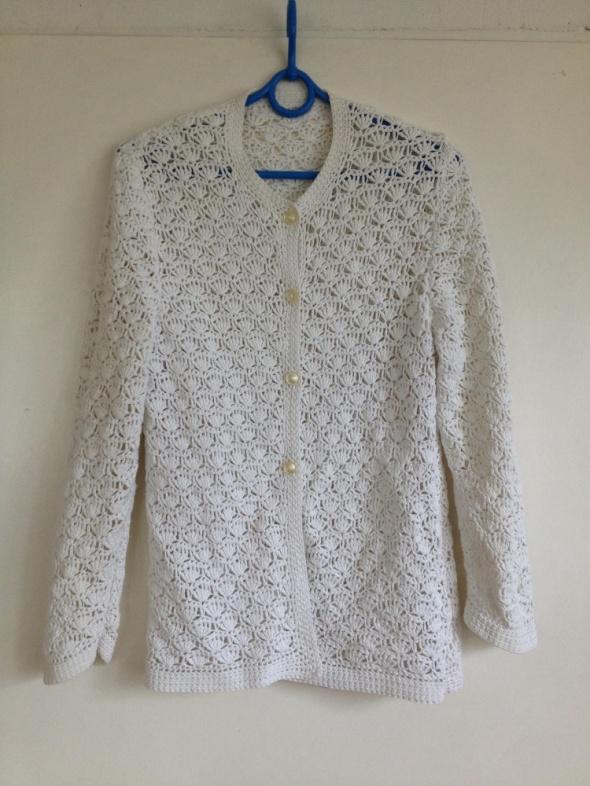 Kardigan sweter dziergany biały vintage kremowy oversize S M L ...
