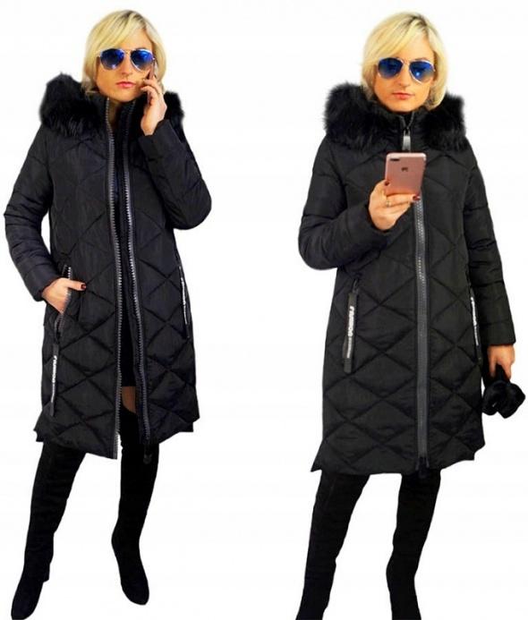 Odzież wierzchnia ELLEN ROSE czarny asymetryczny płaszcz zimowy r 42