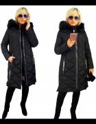 ELLEN ROSE czarny asymetryczny płaszcz zimowy r 42...