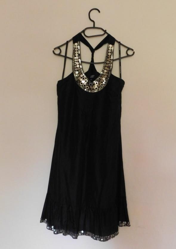 Warehouse sukienka czarna mini jedwab 36...