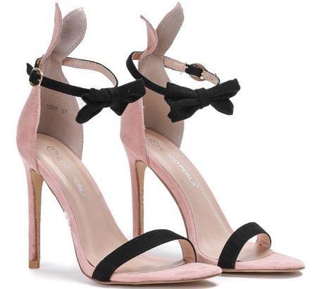Sandały na szpilce różowe z kokardką