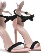 Sandały na szpilce różowe z kokardką...