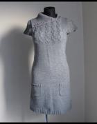 Cieplejsza sukienka New Look 38 M z ciekawym kołnierzem...