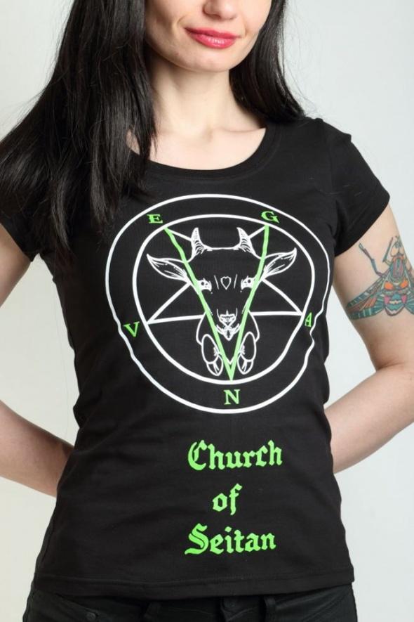 Koszulki Wegańska koszulka damska Church of seitan punk parrot satan killstar sinfashion vegan wege vege