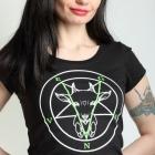 Wegańska koszulka damska Church of seitan punk parrot satan killstar sinfashion vegan wege vege