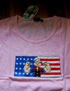 Bluzka popeye japan style Papaj flaga usa różowa...