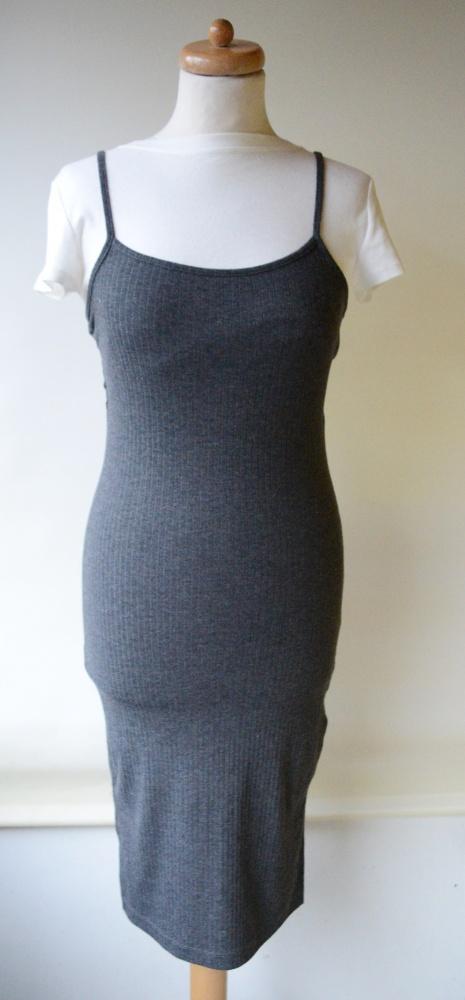 Sukienka Szara Prążki Gina tricot XS 34 Ołówkowa...