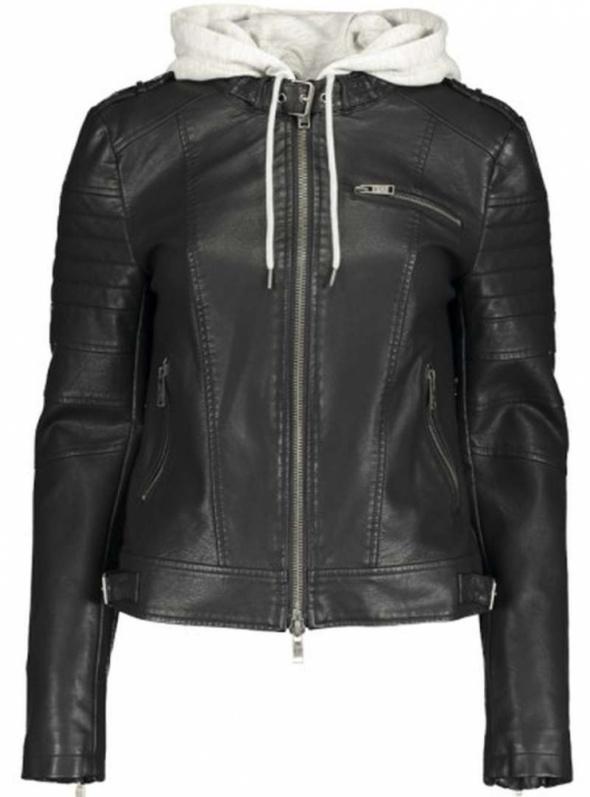 Kurtka eco skóra New Yorker xs 34 kaptur zamki czarna biker ramoneska
